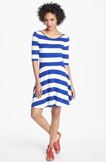 Ladies Jersey Striped Dress