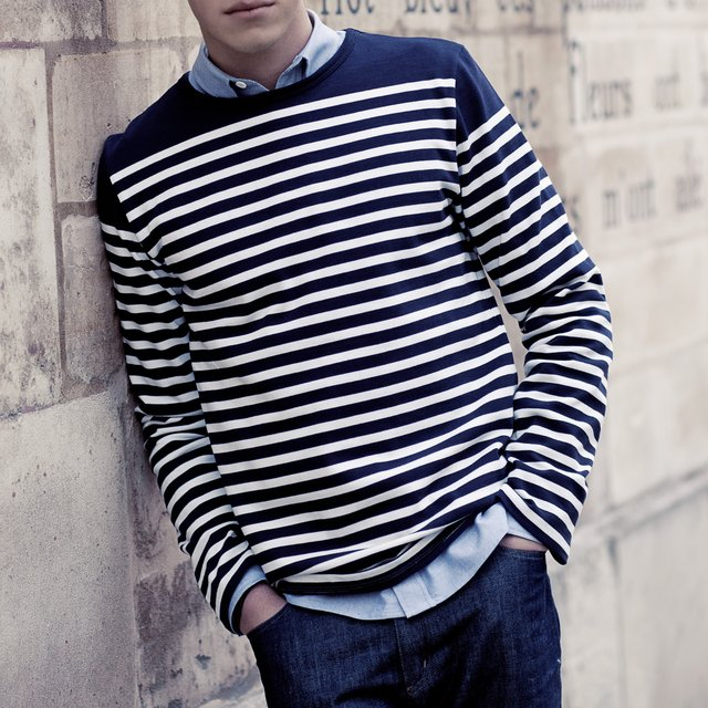 Mens Striped Crew Neck Jumper