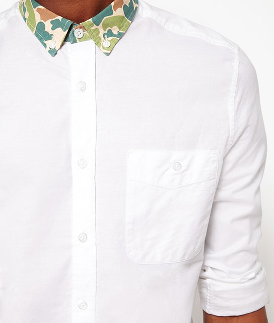 White Camo Collar Oxford Shirt