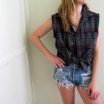 Ladies Sleeveless Plaid Shirt